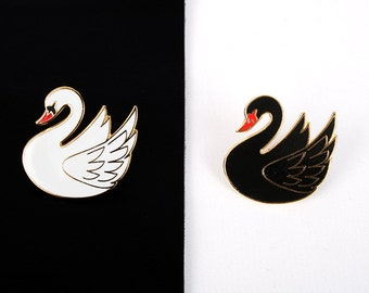 white or black swan pin