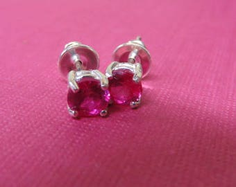 Sapphire Earrings - Pink Sapphire Post Earrings - 5mm Bright Pink Sapphire Posts