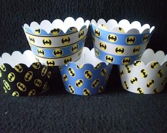 Custom Batman Themed Cupcake Wrappers (12)