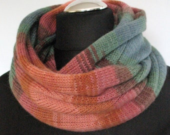 Red Striped Infinity Scarf Cowl Wrap Brown Green Mint Blue