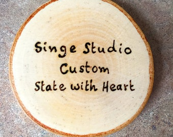 Your State Coaster, State Coaster, Woodburned State Coaster, Custom State Coaster, Woodburned State, Birch Coaster, Wood Burned Coaster