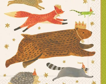 Woodland Animals Paper Napkins Pkg 20 Beverage Napkins Luncheon Napkin Cake Plates  Birthday Party Woodland Party Animals Bear Fox  sc 1 st  Etsy : woodland animals paper plates - Pezcame.Com