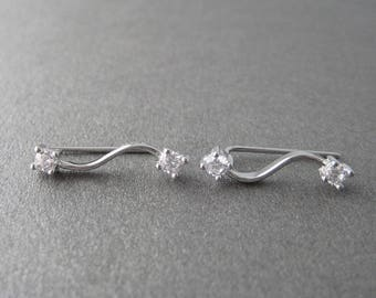 Earrings zirconium CZ bar these ankle cuff and Silver 925/1000