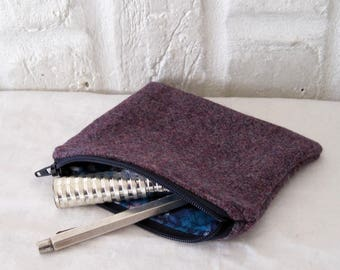 Handmade Recycled Purple Tweed Pouch
