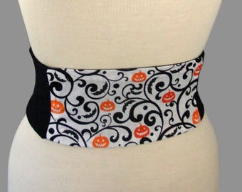 Halloween Corset Obi Belt -  Pumpkin Swirl Waist Cincher Corset Any Size Lace Up Black and Orange
