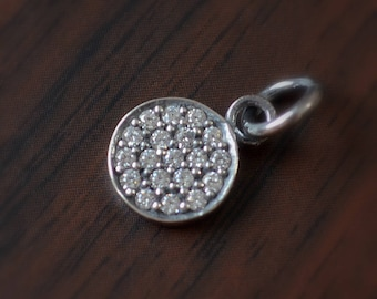 Small Round Pave Disc Charm, Cubic Zirconia Crystal, Oxidized Sterling Silver, 8mm Diameter, Jewelry Finding Supply, Petite Pendant