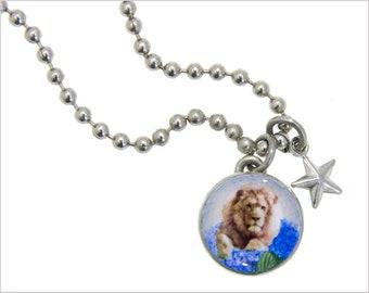 kids necklace, kids jewelry, lion charm, girls necklaces, girls pendants, pewter jewelry, interchangeable, #136
