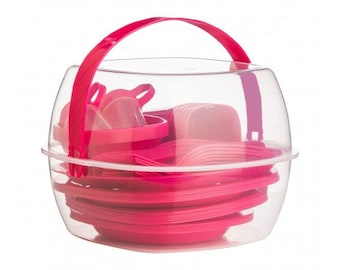 51Pc Picnic Set Lightweight And Attractive Hot pink Color.
