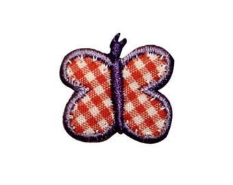 ID 2150A Plaid Butterfly Patch Garden Bug Picnic Embroidered Iron On Applique