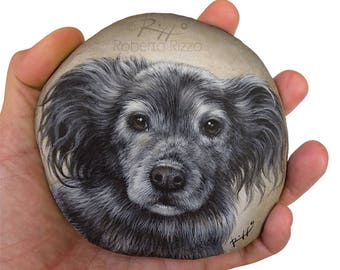 Custom Close Up Dog Portraits Hand Painted on Natural Sea Stone | Fine Detailed Pet Memorial Painted Rocks by the Artist Roberto Rizzo