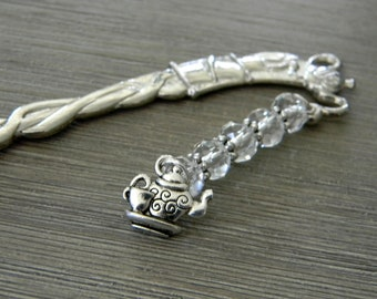 Teapot Bookmark with Clear Glass Beads Silver Color Shepherd Hook Bookmark Tea Design