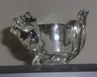 Vintage Avon Glass Squirrel Candle Holder-NICE