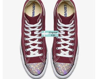 SWAROVSKI Bling CONVERSE-Wedding Shoes -Maroon HI Top Chuck Taylors with Satin Shoe Laces- Sparkle Chucks