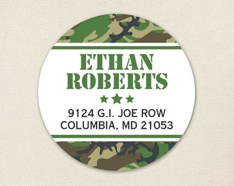 Camo Address Labels / Army Party Address Labels - Sheet of 24