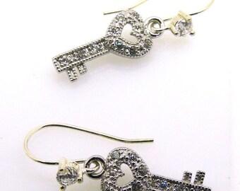 love keys earrings -Silver Key , jewelry, Silver Key  925 Sterling Silver earrings, White Zircon , CLASSICS, Gift for her, ID: 30199