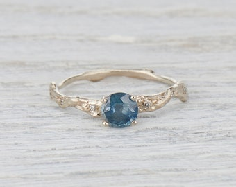 Teal Sapphire Engagement Ring, Blue Green Sapphire Ring,  Twig Engagement Ring, 5mm sapphire ring, Yellow Gold, Rose Gold, White Gold