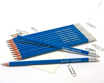 High Quality Personalised Pencils -Printed with Name - FRENCH NAVY (plus other colours)