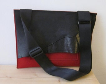 Wool Felt and Leather  Envelope style Laptop bag for 13 inch  Macbook, Macbook Pro  and  MabcbookAir