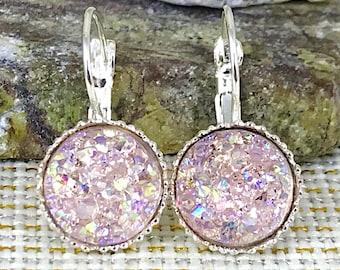 Bridesmaid Gift - Pale Pink Druzy Earrings  - Leverback Earrings - Maid of Honor Gift - Bridesmaid Earrings - Wedding Jewelry - Flower Girl
