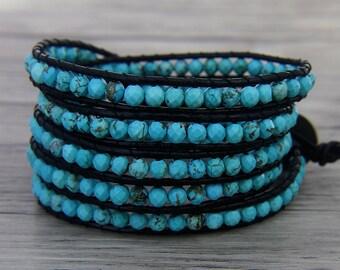 Turquoise wrap bracelet Boho bead wrap bracelet Blue bead bracelet women Turquoise bracelet Leather wrap bracelet Bridesmaid bracelet SL0462