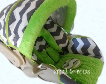 Joel~Grey Chevron/Lime Minky Dot Infant Cover 5 piece set