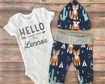Southwest Baby Boy Coming Home Outfit, Going Home Outfit, Cactus, fox, tee pee, arrow, raccoon, hello world, hello name outfit, baby boy