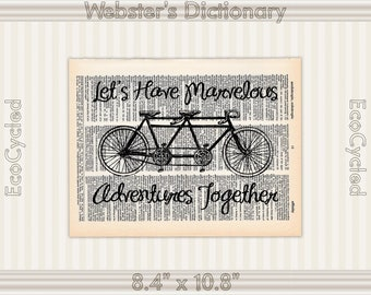 Marvelous Adventures Together Bicycle Built for Two Vintage Upcycled Dictionary Art Print Book Art Prints wedding anniversary tandem bike