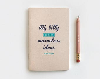 Midori Travelers Notebook & Gold Foil Pencil Set, Graduation Birthday Gift - Itty Bitty Book of Marvelous Ideas, Recycled Paper
