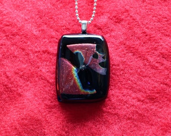 Dichroic Glass Pendant,Large Dichroic Pendant, Original Fused Glass Necklace, Iridescent Pendant, Necklace, Colorful Fused Glass