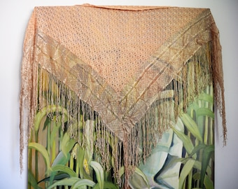 Vintage English Village Shawl - Rose Color with Fringe
