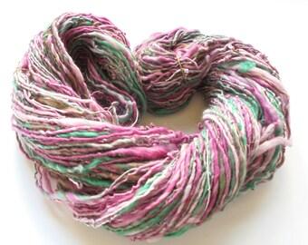 SOFTER THAN SPRINGTIME Handspun Yarn, Dk-weight yarn, Luxury Handspun, Merino Wool Yarn, Merino Handspun, Silk Yarn, Shimmery Yarn, Smoosh