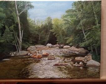 Original Oil Painting Pemigewasset River,Cascade Park, North Woodstock NH