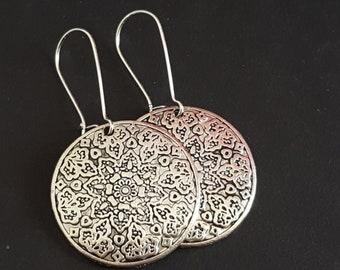 Earrings Bohemian earrings mounting, silver, Stud Earrings, arabesque, women earrings