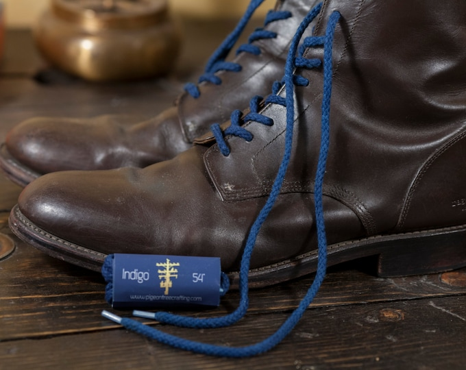 """Indigo Dyed Round Braided Boot Laces 54"""", 63"""" Made in USA"""