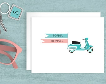 Custom stationery, Personalized folded note cards, Custom cards, Bespoke Stationery, Scooter personalized note cards, JJD-SCTR-A2