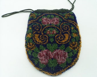 Antique abstract floral beaded drawstring  purse