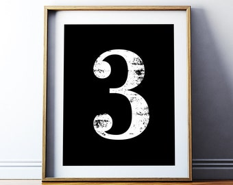 "Digital Print ""3"" Number Three Printable Poster - Numerology Vintage Number Art Decor Scandinavian Typography No 3 Wall Art Digital Download"