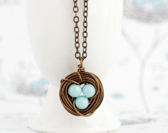 Mothers Day Gift - Christmas Gift For Mom - Blue Bird Nest Necklace - Rustic Nature Nest Jewelry -  Bird Nest Necklaces - Family Jewelry