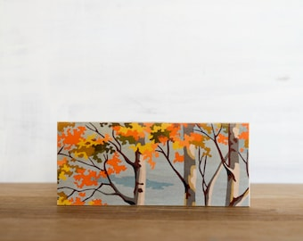 Paint by Number style Art Block 'Autumn Color' - vintage, birch trees, fall color, autumn leaves