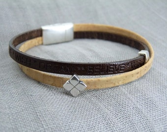 Bracelet Leather and Cork * believe-Wish-Dream *-Zamak-magnetic closure-gift-