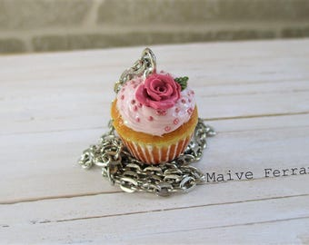 Vanilla Cupcake Necklace, Cute Miniature Food, Polymer Clay Jewelry Accessories Handmade