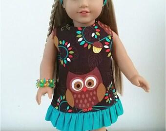 18 inch Doll Clothes, 18 inch Doll Dress, Headband & Bracelets, 18 inch A-line Dress, Doll Summer Dress