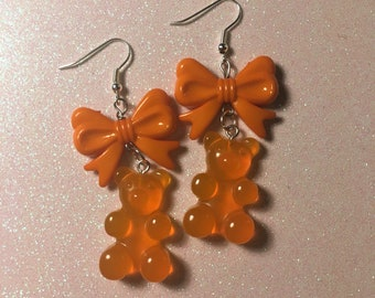 Kawaii Orange Gummy Bear & Bow Earrings