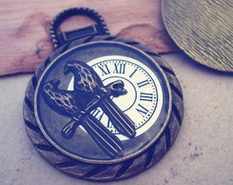 5pcs Antique bronze Bird With Clock  pendant charm 34mm