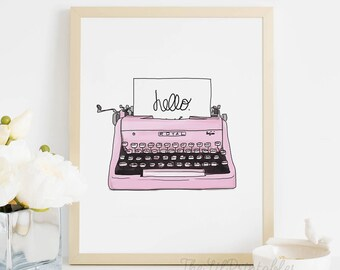 Hello, Typewriter Printable, Vintage Wall Art, Wall Art Printable, Vintage Typewriter Wall Decor, Art Printable, Hello Quote Art Printable