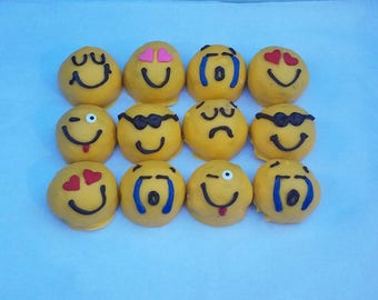 Emoji Cake Balls. Cake Pops. Bitty Bits. One dozen. birthday gift. get well gift. edible gift. hostess. fun. Hostess gift.  kids party favor