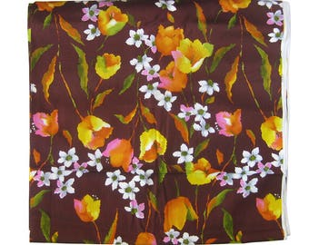 Vintage Large Print Floral Fabric - Watercolor Floral Hawaiian Print in Yellow, Orange and Pink on Brown / Barkcloth Texture