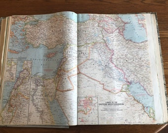 "Vintage 1959 National Geographic Map ""Lands of the Eastern Mediterranean"""