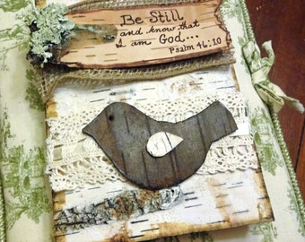 Birch Bark Bird, Burlap, & Lace Customized Wood Burned Favorite Verse, Message or Quote Journal