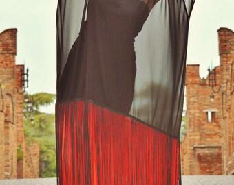 Black and Red Maxi Dress, Summer Sheer Dress with Fringes, Summer Maxi Dress TDK184, Boho Wedding Dress by TEYXO